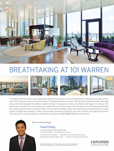 Corcoran Group Real Estate - Local Print Magazine & Digital Media Advertising in Architectural Digest, Condé Nast Traveler, The New Yorker & Vanity Fair